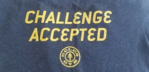 Golds Gym Challenge Accepted T Shirt Grey Workout HIMYM Fitness Muscle Weight $10.00