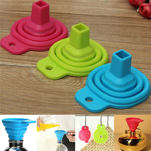 Collapsible Gel Silicone Hopper Practical Kitchen Tools Foldable Funnel 2/5Pcs