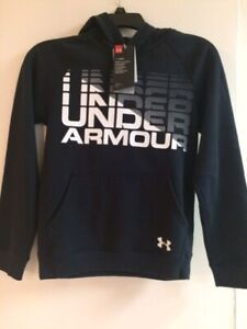 Under Armour Coldgear Big Boys Black white Rival Logo Pullover Hoodie NEW $21.99