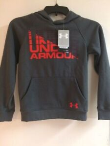 Under Armour Big Boys Rival Logo Hoodie Sweatshirt Pullover Gray red NEW!! $22.99
