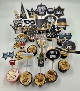 cake amp; food toppers sticks picks 25th birthday party buffet food favors event GBP 14.99