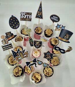 assembled cake and food toppers sticks picks 35th birthday party buffet favors GBP 14.99