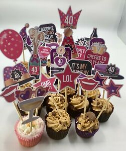 ready made food and cake toppers picks sticks 40th birthday party food buffet