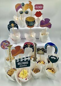 food & cake picks toppers favors bollywood wedding buffet party event ready