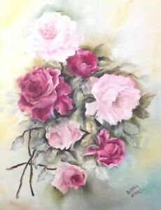 Shabby Chic Victorian Hand Painted Pink Cranberry Roses Signed