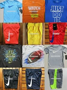 NIKE BOYS SIZE 6 DRI-FIT SHORTS $260 T-SHIRTS ~ 12pc NEW ~ SUMMER BLACK BLUE RED