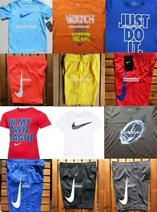 NIKE BOYS SIZE 6 DRI-FIT SHORTS $266 T-SHIRTS ~ 12pc NEW ~ SUMMER BLACK BLUE RED