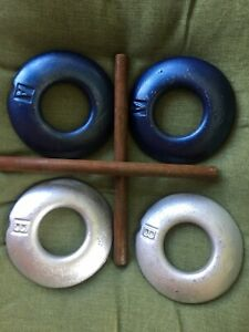 Set Of 4 Quoits Rings Vintage Cast Iron With Hobs