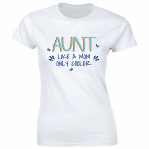 Aunt Like A Mom Only Cooler with Butterflies White T Shirt for Women