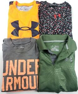 Lot of 4 boys UNDER ARMOUR SHIRTS tops polo size youth small YSM EUC