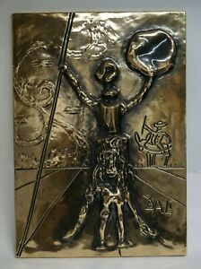 Salvador Dali Don Quixote Original Bas Relief Plaque with Gold Patina $2950.00