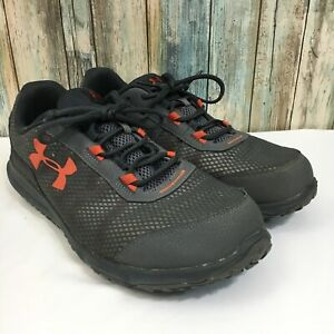 Under Armour Toccoa Men's 13 Gray Orange Lace Up Trail  Off Road Running Shoes