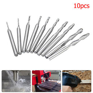 10x Spiral Ball Nose End Mill Drill Router Bits Set CNC Lathe Milling Cutter Bit