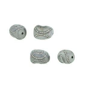 Spacer 0.47Cts Pave Diamond Bead Findings 925 Silver New Arrivals Jewelry