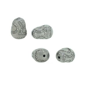 Christmas Jewelry Pave Diamond Uneven Bead 925 Silver Spacer Findings Jewelry