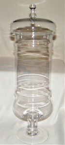 Huge Clear GLASS DECOR APOTHECARY Style COUNTER CANDY JAR Lidded 22