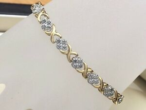 Wonderful NATURAL Diamond X&O Bracelet 1.00 Carat TW 10K Yellow Gold (D01025614)