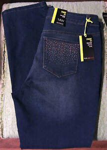 Style & Co Women's Size 14 Straight Leg Mid Rise Tummy Control Jean bling NWT