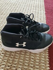LADIES BLACK UNDER ARMOUR BASKETBALL SHOES SIZE 9.5 WORN TWICELOOK