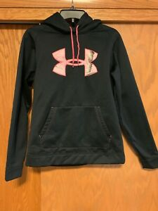 Womens M Under Armour hoodie sweatshirt Black With Pink Camo Embroidered Euc $19.99