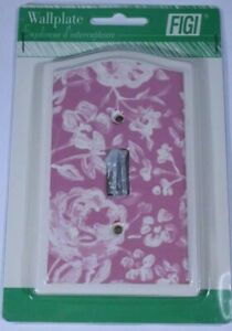 Vintage Figi Wall Plate Cover Dark Rose Floral Print Single Toggle Switch