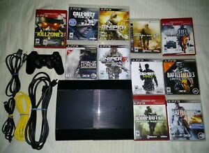 SONY PS3 Model CECH-4001B Game Set (Console-Controler-Games-Cables)