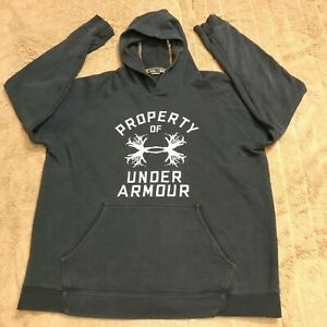 UNDER ARMOUR MENS XL LOOSE Pullover Black Hoodie Hunting Tree Logo