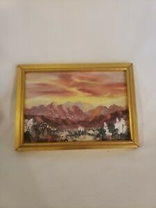 1980 Signed Vintage Miniature Palm Desert Oil Painting Beautiful Sunset AWESOME