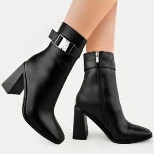 New Womens Ladies Black Faux Leather Ankle Boots Block Mid High Heel Smart Work