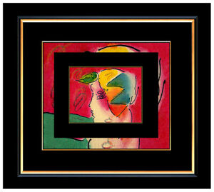 PETER MAX All ORIGINAL Signed Ink and WATERCOLOR PAINTING Pop Art PROFILE Beauty