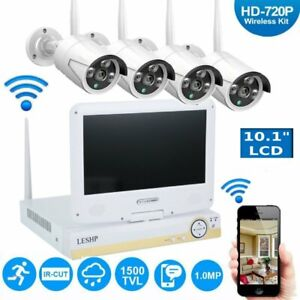 Wireless 4CH 1080P NVR HD 720P WiFi Security Camera System Kit w10