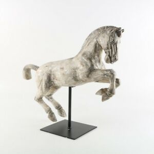 Carved Wood Gesso Galloping Pale White Horse Statue Sculpture Metal Stand 19x22