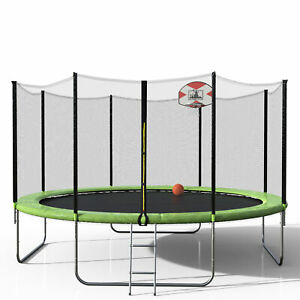 14FT Round Trampoline w80PCS Springs And Enclosure Basketball Hoop