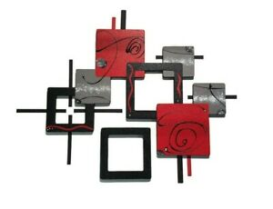 Abstract Wall Sculpture Modern Red Black Wall Art 2pc Contemporary decor 41x32 $249.99