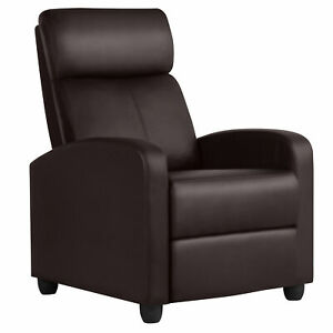 PU Leather Recliner Chair Living Room Single Sofa Home Theater Seating Brown