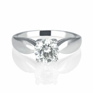 1.20 CT Elegant Round Cut Natural Diamond Engagement Ring 14K White Gold EI1
