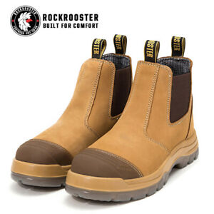 ROCKROOSTER Mens Steel Toe Safety Work Boots Anti-static Slip On Water resistant