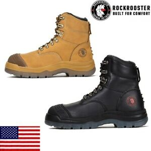 Work Boots for Men Steel Toe Anti-static Safety Work Shoes Leather ROCKROOSTER