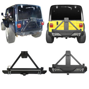 Hooke Road Rear Bumper w Tire Carrier&Lock Design for Jeep Wrangler YJ TJ 87-06