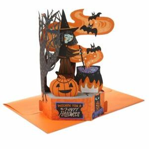 Witch and Cauldron Pop-up Halloween 3D Card  happy Halloween Laser Cut Card