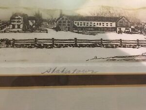 """""""Shakertown"""" By Susan Collins An Original Art Etching Framed amp; Signed Excellent $50.00"""