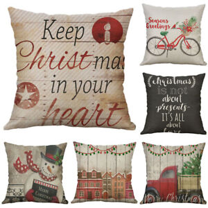 Home Case Cartoon Cotton snowman Cushion Decorative Cover Pillow Linen Christmas $3.09