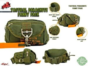 Tactical Parachute Fanny Pack Military Army Marines Waterproof Bag-Olive Green
