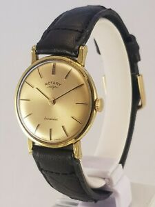 GENT'S VINTAGE SWISS ROTARY INCABLOC RARE MID SIZED GOLD PLATED WRISTWATCH NICE!