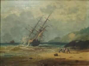 Antique 19th Cent. European Oil on Canvas Painting of a Wrecked French Ship $1,099.00