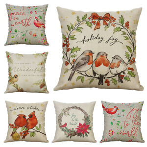 18#x27;#x27; Christmas Waist Home Cover Birds Xmas Gift Decor Cushion Throw Pillow Case $3.09