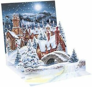 Midnight Village Christmas Card 3D Pop Up Holiday Card Up With Paper $10.74