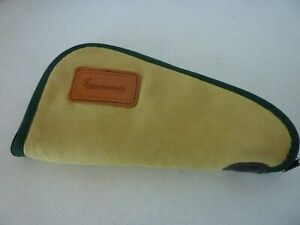 Vintage - BROWNING PISTOL SOFT CASE WITH LEATHER LOGO PATCH - PADDED RUG