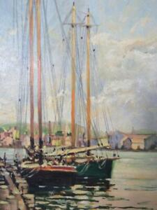 ANTIQUE circa 1940s SAMUEL A. MOSS OIL PAINTING of GLOUCESTER,MA  HARBOR