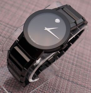 Auth Swiss Movado Sapphire XL Black PVD S.Steel Men's Model# 0606307 Retail$1995